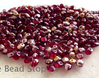 SuperUno one hole beads-2.5x5mm-RED CAPRI GOLD-10 grams