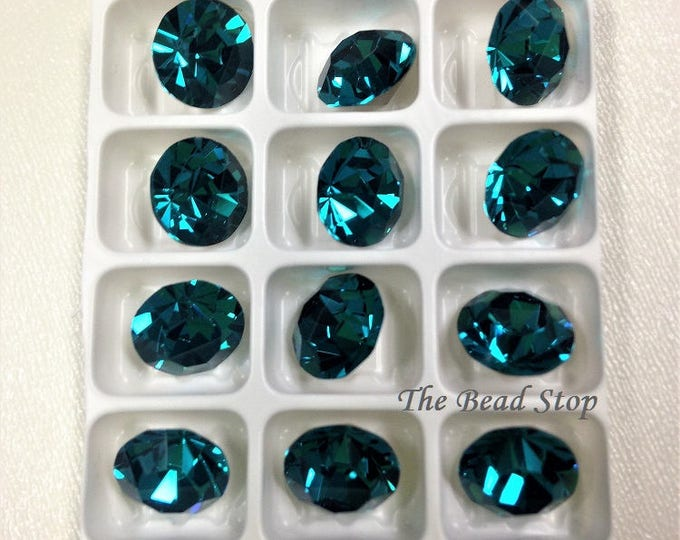 Featured listing image: Preciosa® BLUE ZIRCON MC Chaton Maxima, 15 faceted cut, ss39 8.4mm, 12 chatons, silver foiled pointed back, packaged tray hanging bag