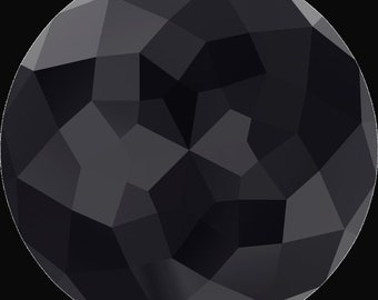 Swarovski 1400 Dome Round Stone Jet Black 18mm, 90 faceted points, Platinum-colored Pro Foiled (1 piece)