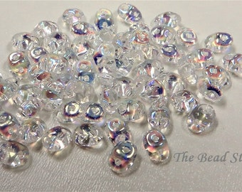 Superduos Crystal AB coating, 2.5 x 5mm, 10 grams (approx 110 beads), hanging 2 inch tube