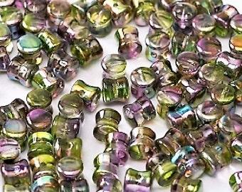 MAGIC ORCHID Pellet Beads, Diabolo Beads, magic coating, Czech Glass 4x6mm, 50 pcs, clear hanging tube