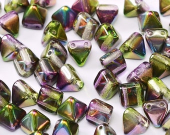 MAGIC ORCHID 6x6mm Czech 2-hole mini pyramid shaped stud bead, lilac green finish, 25 pcs per unit
