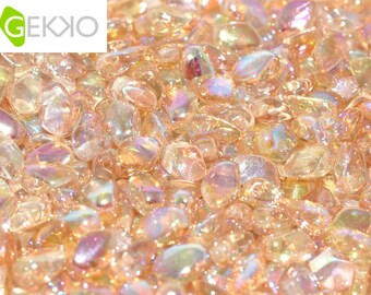 Gekko® Beads Crystal YELLOW Rainbow, 3 x 5mm, 5 grams (approx 100 beads)