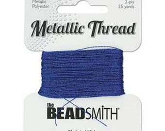 Metallic Thread SAPPHIRE Blue 2-Ply 25 yards Metallic Polyester,Made in USA