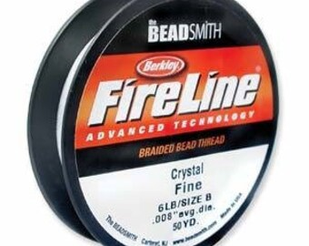 FIRELINE, Black, Crystal, Smoke, 50 Yard, 6 or 8 LB, BeadSmith, spool with hanging clip, Weaving Thread