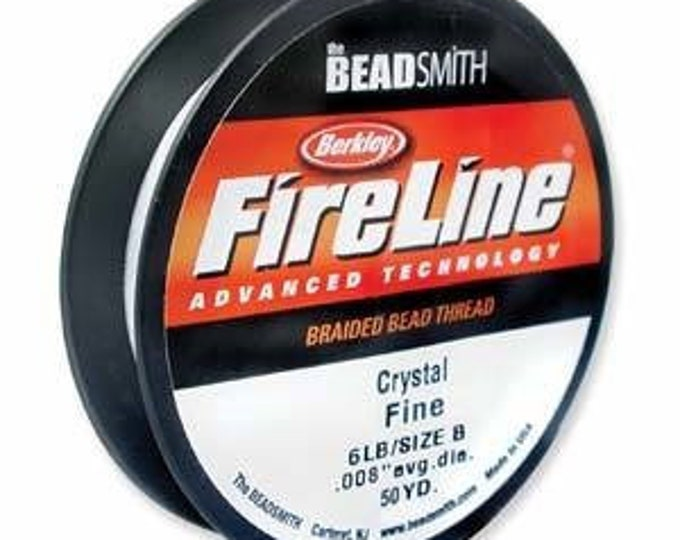Featured listing image: FIRELINE, Black, Crystal, Smoke, 50 Yard, 6 or 8 LB, BeadSmith, spool with hanging clip, Weaving Thread