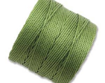 S-Lon Superlon #18 AVOCADO Green Twisted Nylon Bead Cord 77 Yard Spool Bobbin