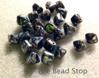 BLACK PICASSO 2-hole mini 6mm PYRAMID Stud Czech Glass shaped stud bead,6x6mm 25 pcs per unit