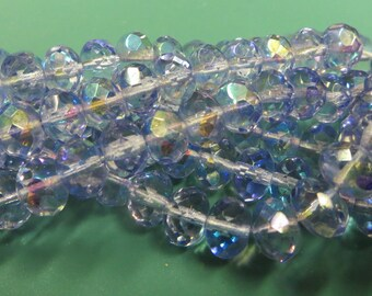 Rondell 8mm Tanzanite AB Czech Faceted Cut Glass, Firepolish Donut, AB coated, 6 x 8mm beads, 25 Beads (1 strand)