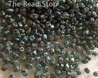 Super Uno 1-hole beads, DARK AQUA TRAVERTIN, -2.5x5mm, 10 grams,hanging tube