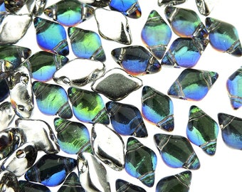"GemDuo Beads, BACKLIT Petroleum, Blue, Green, Purple Tint, Silver backing, 8x5mm, Matubo, 10 grams (approx 70 beads), clear 2.5"" tube"