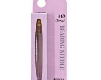 TULIP® Needles, Size 10 Long, 4 needles, packaged corked glass vial, Gold tipped, rounded eye for strength