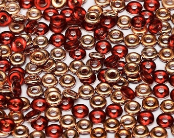 O bead® RED CAPRI Gold, Ruby Red Capri Gold finish,1 x 4mm, Czech Glass, 5 grams, approx 160 beads,   1-1/2 clear plastic hanging tube