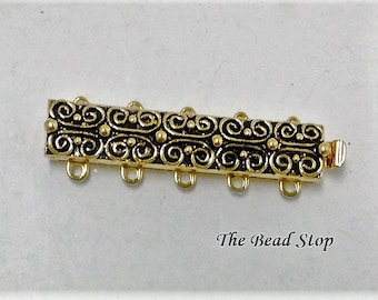 Claspgarten 5 strand Scroll Clasp, 23kt gold plated, high quality German made slide clasp, 31 x 7mm, Antique gold, spring tongue mechanism
