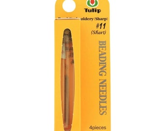 NEW!! TULIP® Needles, 11 SHORT, 4 needles, packaged in corked glass vial, Gold tipped, rounded eye for strength