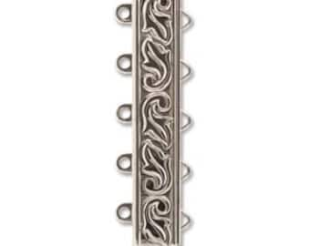 5 STRAND LOOP Etched Clasp, Elegant Elements, Rhodium Silver Plated, High Quality German made slide clasp, 19mm, spring tongue mechanism