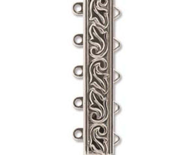 Featured listing image: 5 STRAND LOOP Clasp, Rhodium Plate Swirl Design, High Quality German made slide clasp, 31mm x 5.5mm, spring tongue mechanism
