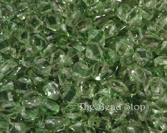 GREEN Transluscent SILKY Beads, Czech Glass, 6x6mm 50 pieces per unit