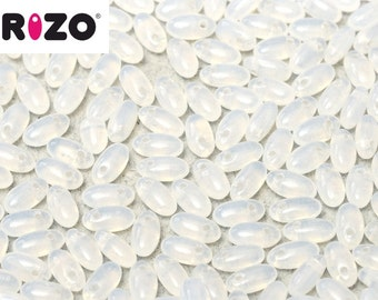 Rizo® WHITE OPAL crystal, 2.5 x 6mm, 8 grams, 2.5 x 6mm, hanging tube