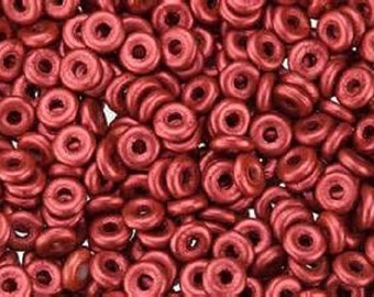 O bead® LAVA RED, Metallic Red,1 x 4mm, Czech Glass, 5 grams, approx 160 beads,   1-1/2 clear plastic hanging tube