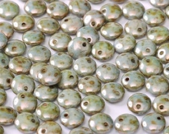 Lentil Beads, 1 hole, BLUE LUSTER, Alabaster Czech glass, 6mm top drilled, 50 pieces, 2 1/2 inch plastic hanging tube