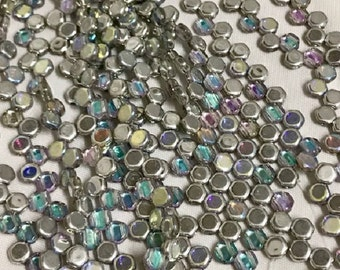 HONEYCOMB Crystal Silver Rainbow, Silver backing, Rainbow coating, 6mm, 30 beads per strand