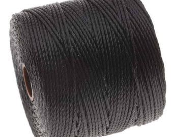 S-Lon BLACK Superlon #18 BLACK Twisted Nylon Bead Cord 77 Yard Spool Bobbin