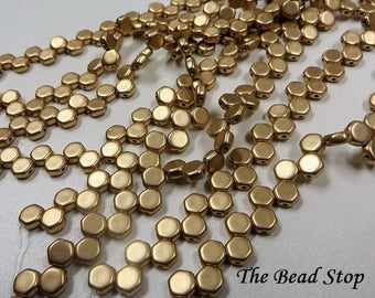 HONEYCOMB Pale Gold Crystal Bronze Beads, 6mm, 30 beads per strand