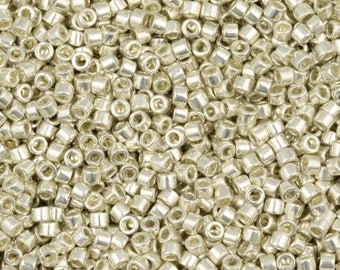 "DB0035 11/0 Delica Miyuki Cylinder beads, Metallic Galvanized Silver, 8 grams, 2"" clear hanging tube"
