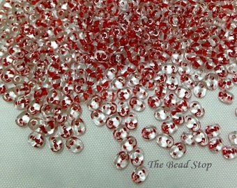 Superduos, Red Lined Crystal, 2.5 x 5mm, 10 grams (approx 110 beads), hanging 2 inch tube