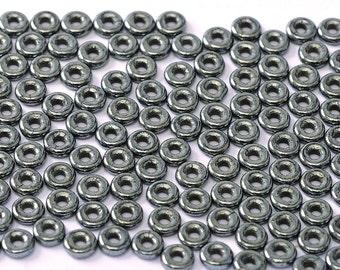 O bead® HEMATITE Jet, metallic coating, 1 x 4mm, Czech Glass, 5 grams, approx 160 beads,   1-1/2 clear plastic hanging tube