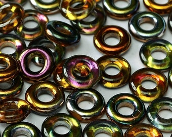 "Magic COPPER Czech Glass Rings Donuts 10mm, clear 3"" hanging tube"
