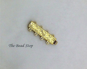 Claspgarten 4 strand Leaf Swirl Clasp, 23kt gold plated, high quality German made slide clasp, 24 x 6mm, spring tongue mechanism