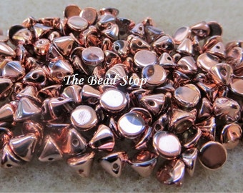 Button Bead ® Capri Gold Crystal FULL, 4mm Metallic, Copper,  50 pcs in a 1-1/2 inch clear hanging tube