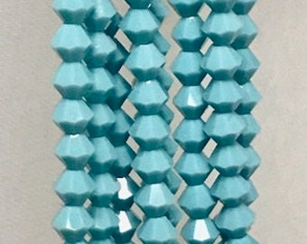 Presciosa Bicones, TURQUOISE, 4mm, Crystal cut, CZ glass, 31 beads per strand