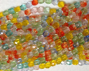 4mm SUMMER MIX - fire polish Czech beads - Yellow, Orange, Blue, Crystal and Green mix, 50 or 100 bead pricing available