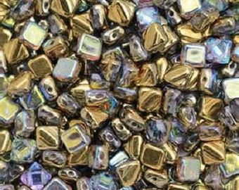 Crystal GOLDEN RAINBOW SILKY Beads, Rainbow Finish, Czech Glass,2 hole diaginal-cut, 6x6mm 50 pieces per unit