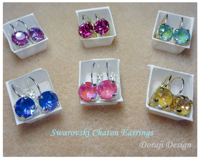 Featured listing image: SWAROVSKI 39ss CHATON EARRINGS, Lever back German made, brass Shiny Silver or Shiny Gold plate, Various Chaton colors, Choose From Drop Down