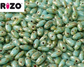 Rizo® TURQUOISE PICASSO, 10 grams, 2.5 x 6mm, hanging tube, approx 150 beads