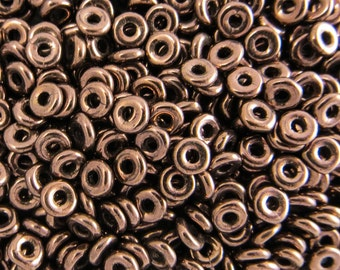 O bead® JET BRONZE, 1 x 4mm zech Glass beads, 5 grams, approx. 160 beads,  1-1/2 inch clear plastic hanging tube