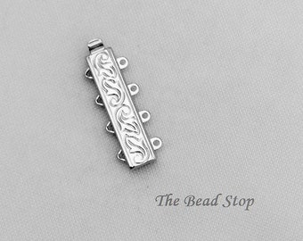 4 Strand Loop Leaf Etched Clasp, Elegant Elements, Rhodium plated, high quality German made slide clasp, 24 x 6mm, spring tongue mechanism