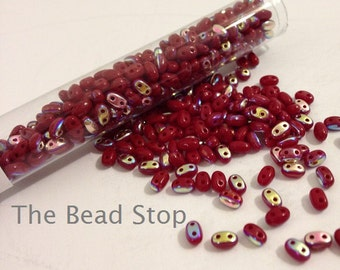 TWIN 2-hole beads Blood Red AB 2.5x5mm-24 gram tube, approx. 150 beads (1 unit)