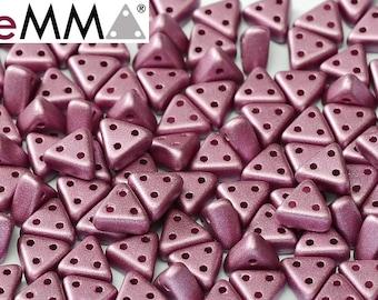 eMMA® Bead, METALLIC LILA, 3-hole triange bead, 3x6 mm  50 beads
