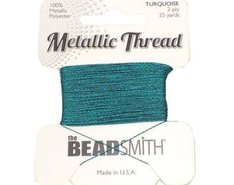 Metallic Thread TURQUOISE 2-Ply 25 yards Metallic Polyester,Made in USA