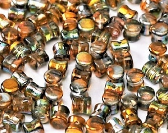 MAGIC COPPER Pellet Beads, Diabolo Beads, magic coating, Czech Glass 4x6mm, 50 pcs, clear hanging tube