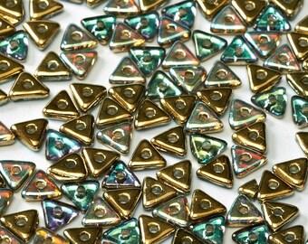 TRI BEAD Crystal Golden Rainbow, 4mm Metallic Rainbow finish, 5 grams (approx 170 beads)