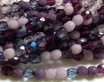 4mm PURPLE MIX -  fire polish Czech beads - Assorted Purple, Lilac mix, 50 or 100 bead pricing available