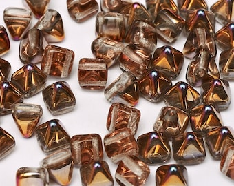 CRYSTAL SLIPERIT 2-hole mini PYRAMID Stud shaped Czech bead, 6x6mm 25 pcs per unit