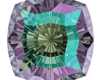 SWAROVSKI 4460 MYSTIC Square PARADISE Shine Fancy Stone 14MM, Platinum-colored Pro Foiled (1 piece each)