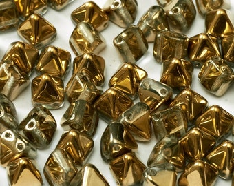 CRYSTAL AMBER 2-hole mini PYRAMID Stud shaped Czechbead, 6x6mm 25 pcs per unit